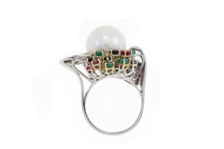 Multi-Colored Australian Pearl Two-Color Gold Ring In Good Condition For Sale In Marcianise, Caserta