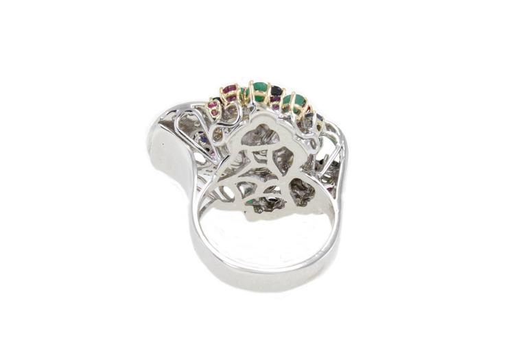 Women's Multi-Colored Australian Pearl Two-Color Gold Ring For Sale