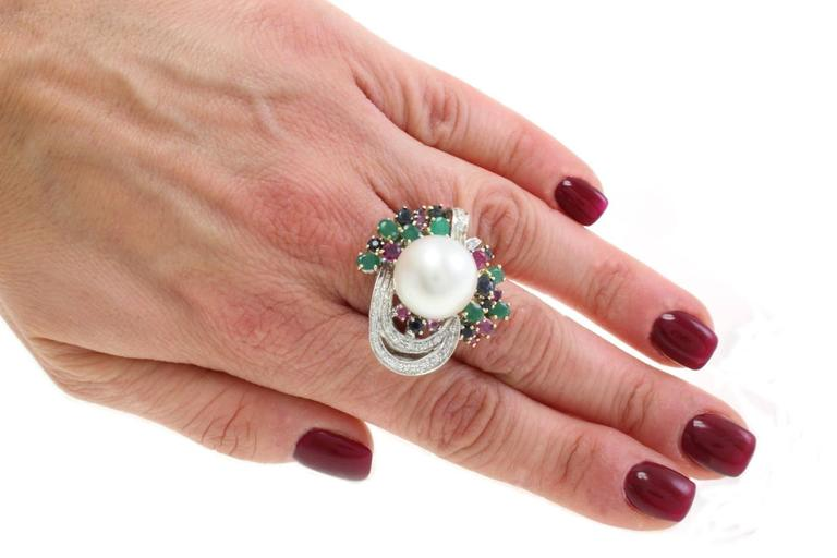 Multi-Colored Australian Pearl Two-Color Gold Ring For Sale 1
