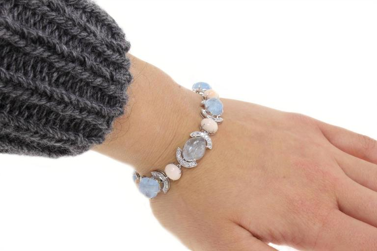 Retro Aquamarine Coral Diamond Link Gold Bracelet For Sale