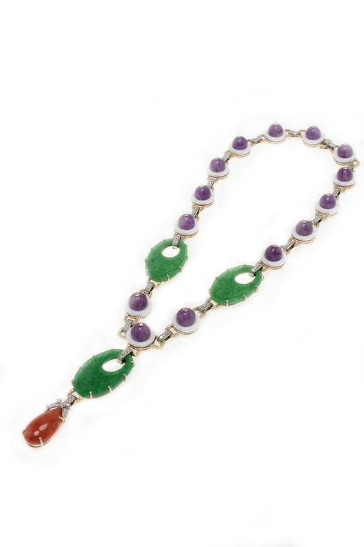 Luise Coral Diamond White Agate Gemstone Necklace In As New Condition For Sale In Marcianise (CE), IT