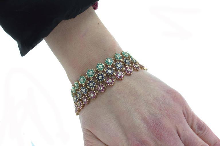 Brilliant Cut Emerald Ruby Sapphire Diamond Gold Bracelet For Sale