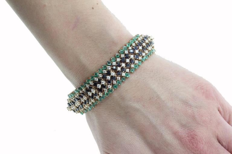 Women's Emerald and Sapphire and Diamonds Gold Strands Bracelet For Sale