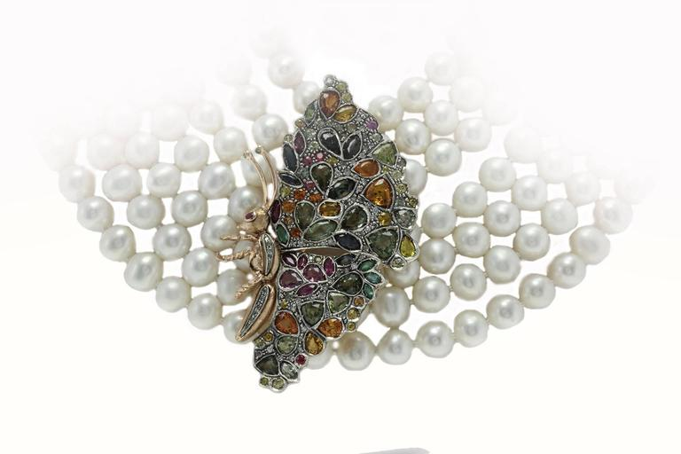 Retro   Multicolor Sapphires Rubies Emeralds Diamonds Pearl 7 Row Gold and Si Necklace For Sale