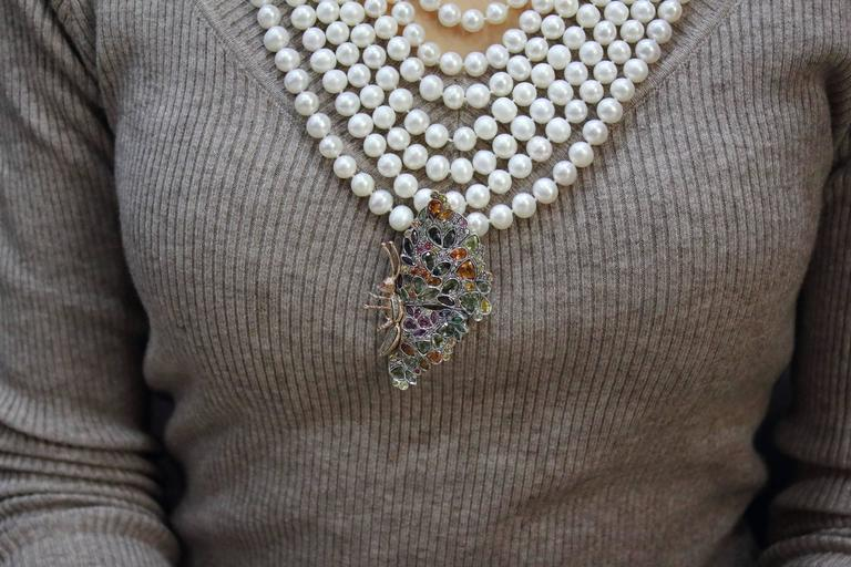 Multicolor Sapphires Rubies Emeralds Diamonds Pearl 7 Row Gold and Si Necklace For Sale 4