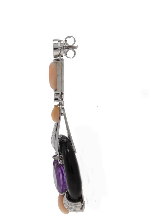 Diamond Amethyst Coral Onyx Gold Earrings 3