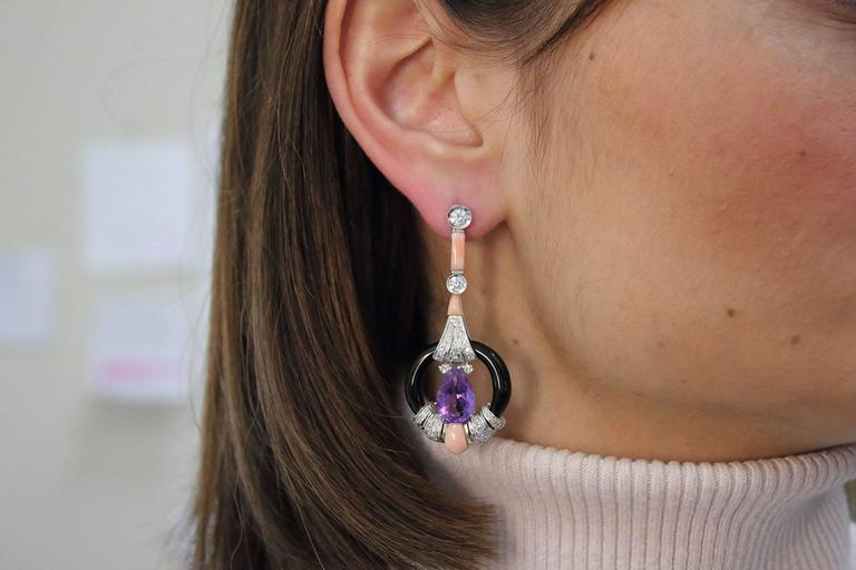 Diamond Amethyst Coral Onyx Gold Earrings 4