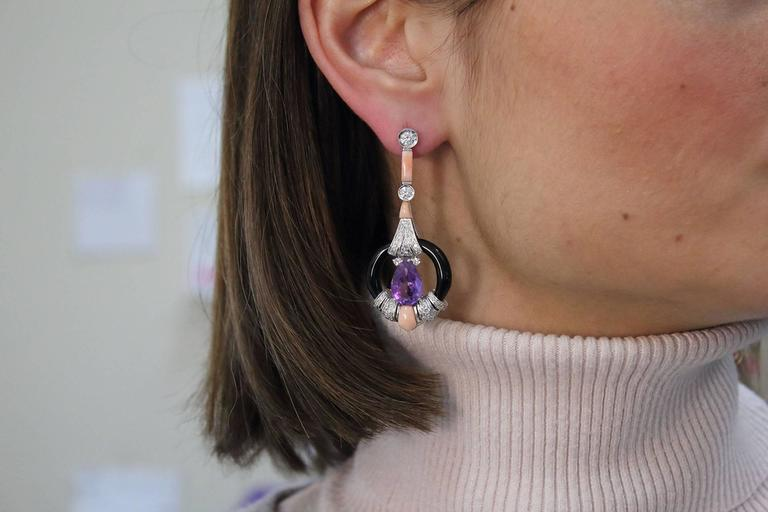 Diamond Amethyst Coral Onyx Gold Earrings 5