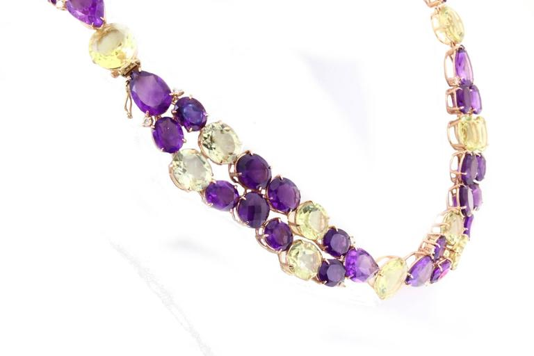 Luise Diamonds Amethysts Citrines Gold Necklace  2