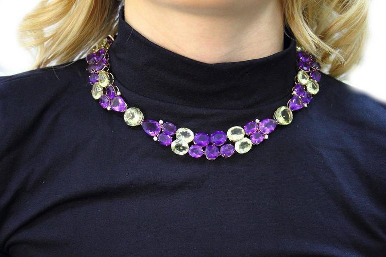 Luise Diamonds Amethysts Citrines Gold Necklace  3