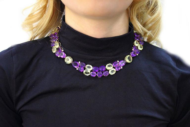 Luise Diamonds Amethysts Citrines Gold Necklace  4