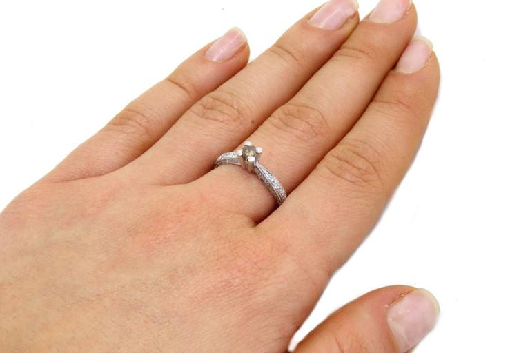 Diamonds Solitaire Gold Ring In Good Condition For Sale In Marcianise, Caserta