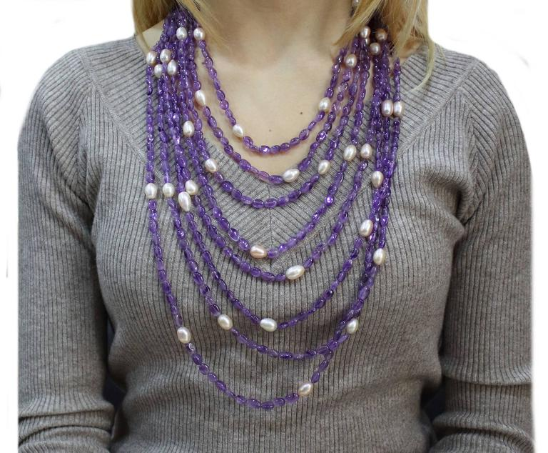 Luise Amethyst Pearls Silver Multi-Stand Necklace  In As new Condition For Sale In Marcianise (CE), IT