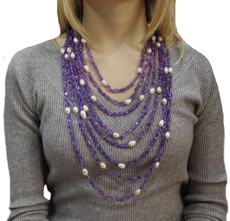 Women's Luise Amethyst Pearls Silver Multi-Stand Necklace  For Sale