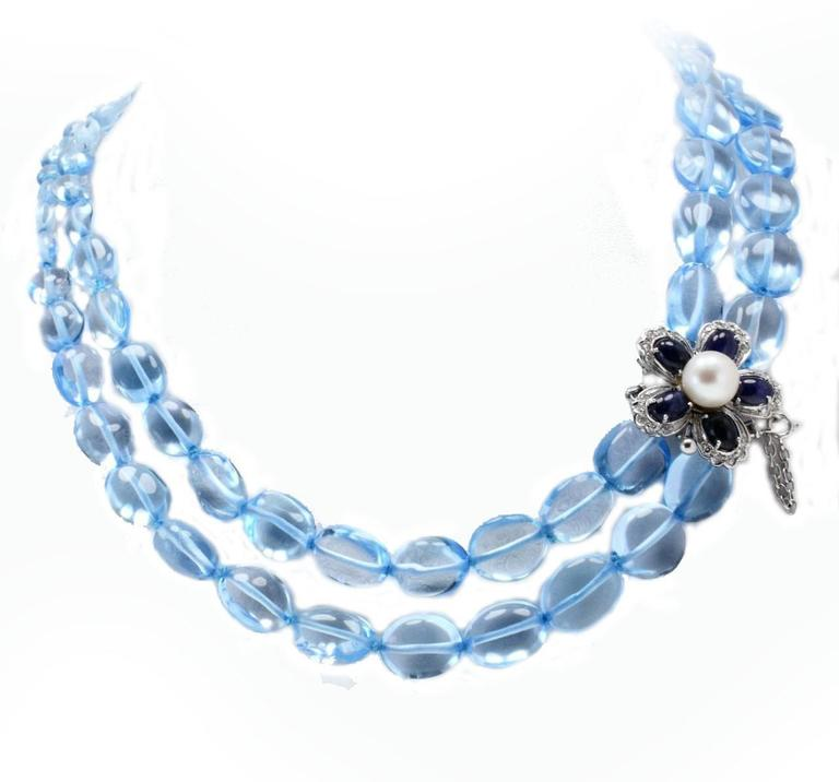 Luise Diamonds Blue Sapphires Pearls Topaz Gold Necklace 2