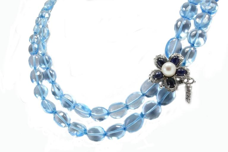 Luise Diamonds Blue Sapphires Pearls Topaz Gold Necklace 3