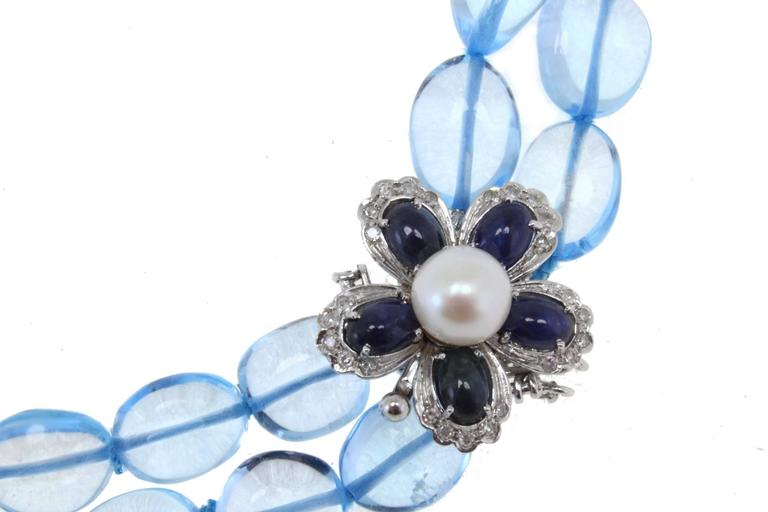 Luise Diamonds Blue Sapphires Pearls Topaz Gold Necklace 4