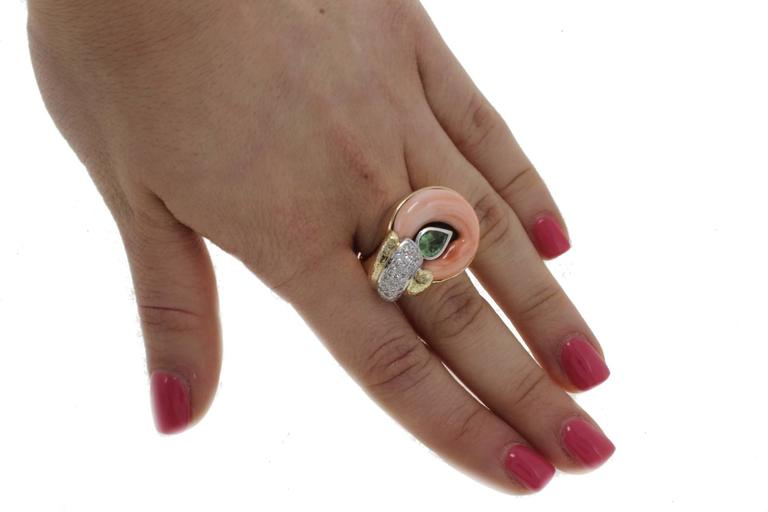 Diamonds Tsavorite Onyx Coral Fashion Gold Ring For Sale 2