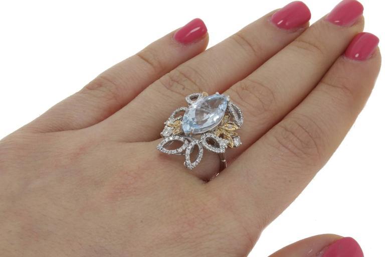 Luise Diamonds Aquamarine Cocktail Ring 4