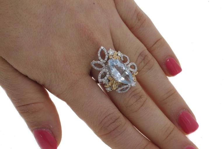 Luise Diamonds Aquamarine Cocktail Ring 5