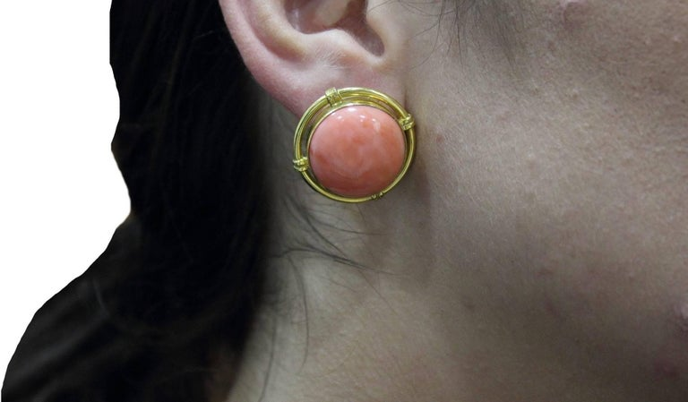 Button Coral Gold Clip-On Earrings For Sale 1