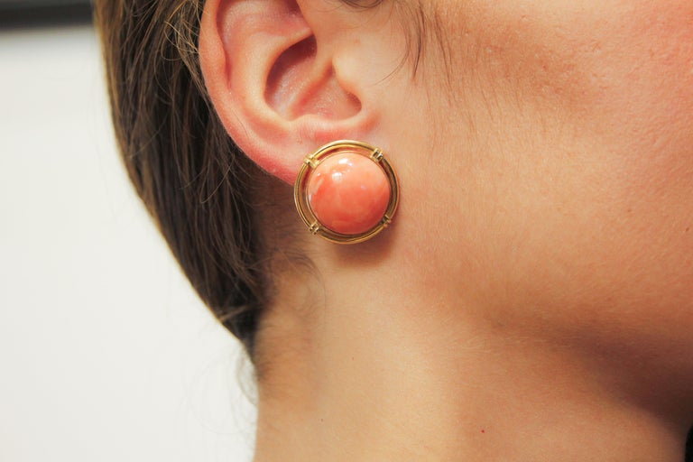 Button Coral Gold Clip-On Earrings For Sale 4