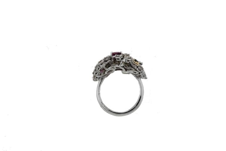 Women's  Diamonds Emeralds Rubies Pearl Gold Cocktail Ring For Sale