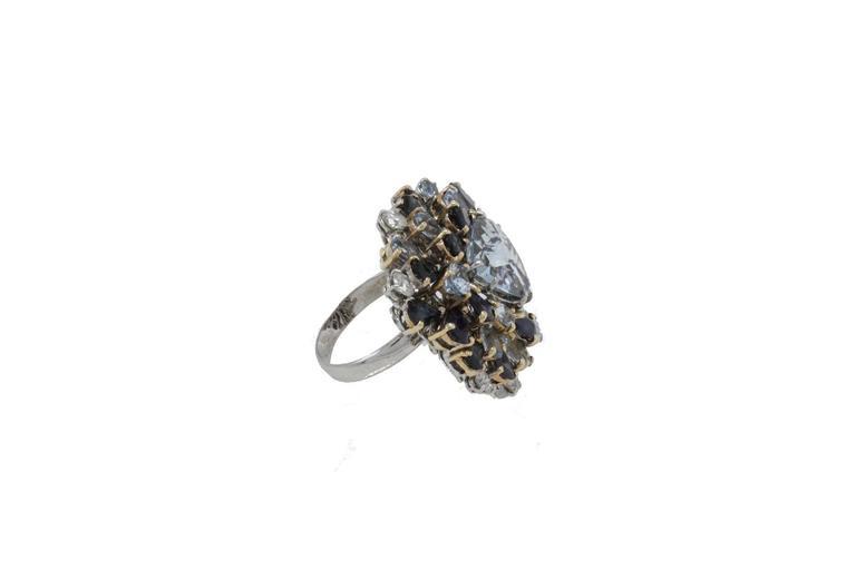 Luise Diamonds Blue Sapphires Aquamarine Gold Fashion Ring 2