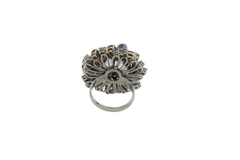 Luise Diamonds Blue Sapphires Aquamarine Gold Fashion Ring 4