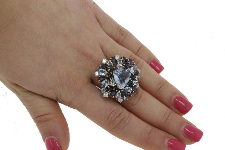 Luise Diamonds Blue Sapphires Aquamarine Gold Fashion Ring 5