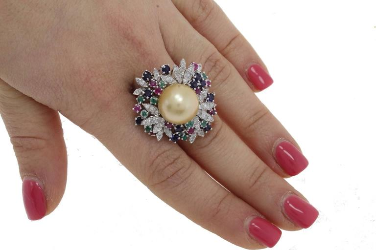 Women's  Diamonds Emeralds Rubies Blue Sapphires Yellow Pearl Cluster Gold  Ring For Sale