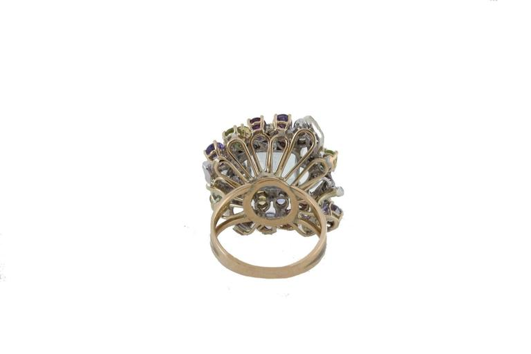 Diamonds Topaz Peridots Amethyst Tanzanite Garnet Aquamarine Cluster Gold  Ring In As new Condition For Sale In Marcianise (CE), IT