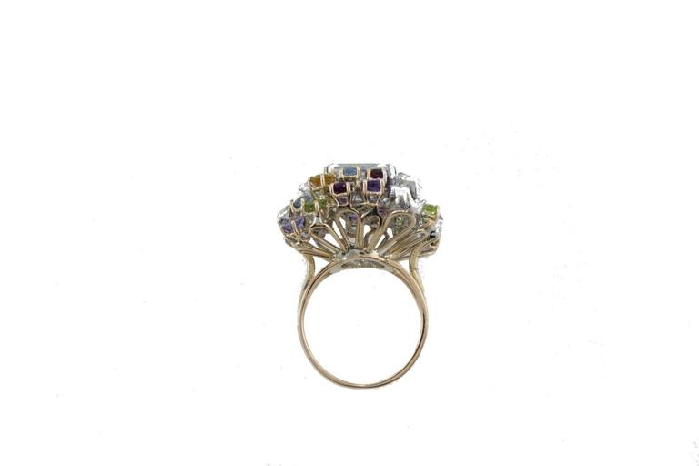 Women's Diamonds Topaz Peridots Amethyst Tanzanite Garnet Aquamarine Cluster Gold  Ring For Sale