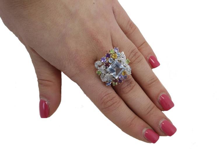 Diamonds Topaz Peridots Amethyst Tanzanite Garnet Aquamarine Cluster Gold  Ring For Sale 1