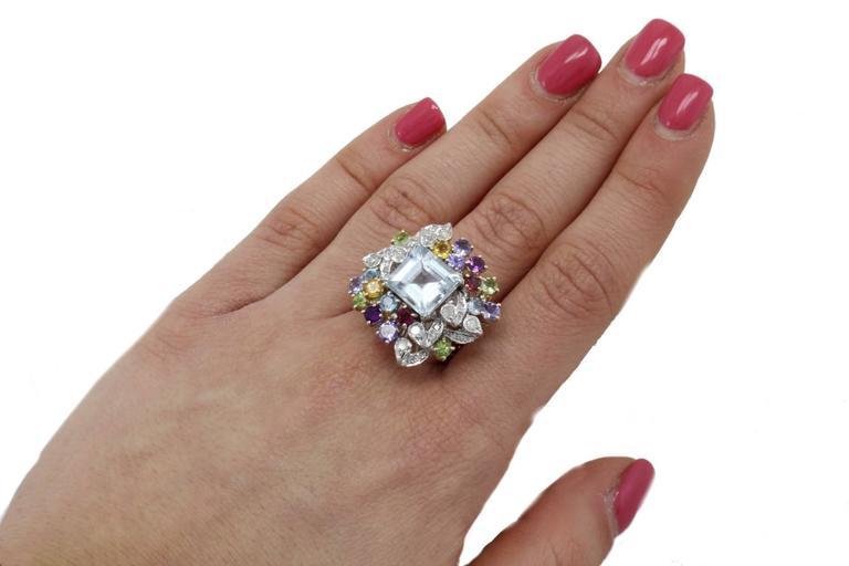 Diamonds Topaz Peridots Amethyst Tanzanite Garnet Aquamarine Cluster Gold  Ring For Sale 2
