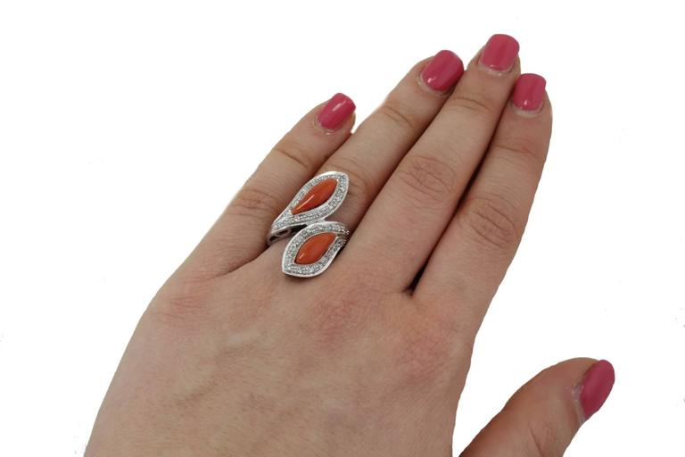 Women's  White Diamonds Coral Fashion Gold Ring For Sale
