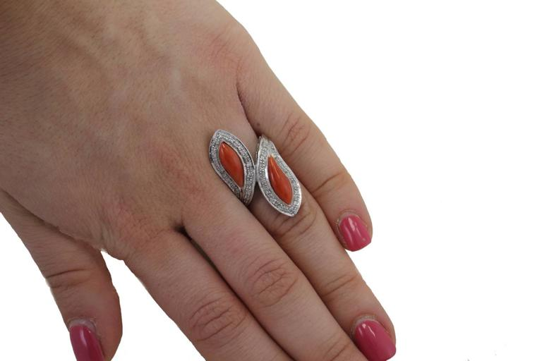 White Diamonds Coral Fashion Gold Ring For Sale 1