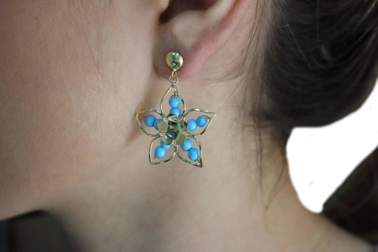 Women's 18 kt Gold Dangle Earrings For Sale