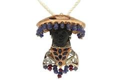 Venetian Moretto  Gold and Silver  Pendant