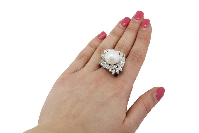 Women's Australian Pearl Diamond Gold Ring For Sale