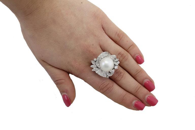 Australian Pearl Diamond Gold Ring For Sale 1