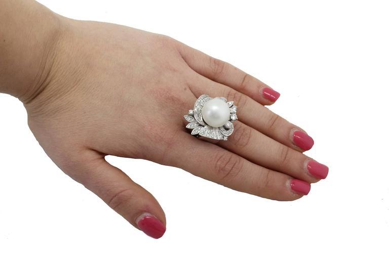 Australian Pearl Diamond Gold Ring For Sale 2