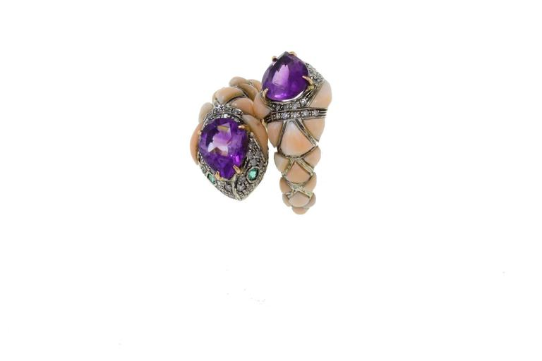 Retro Amethyst Coral Diamond Emerald Snake Gold and Silver Ring For Sale