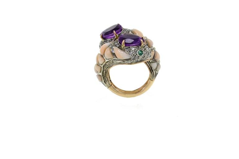 Amethyst Coral Diamond Emerald Snake Gold and Silver Ring In Good Condition For Sale In Marcianise, Caserta
