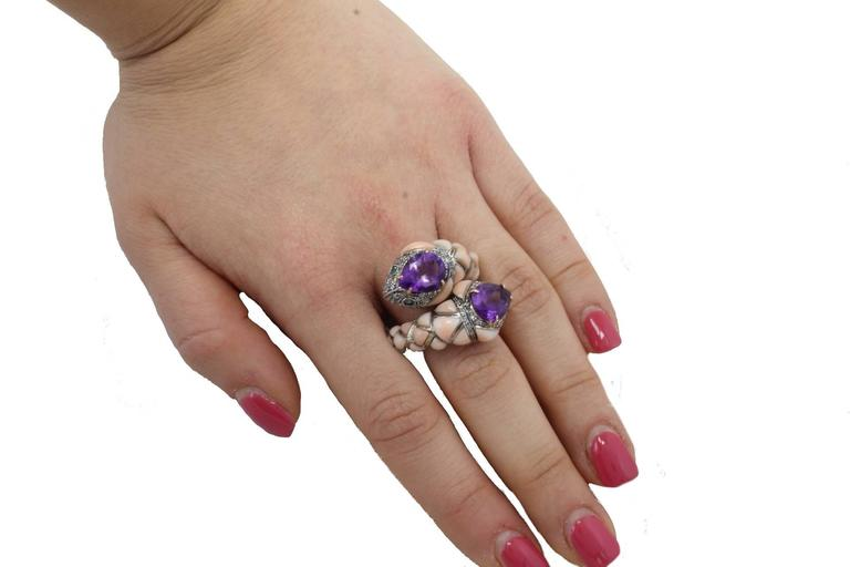 Women's Amethyst Coral Diamond Emerald Snake Gold and Silver Ring For Sale