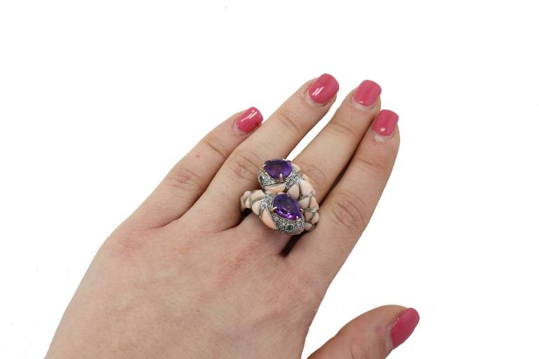 Amethyst Coral Diamond Emerald Snake Gold and Silver Ring For Sale 1