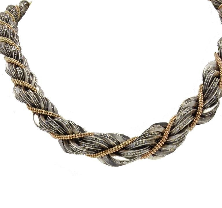 Retro  Diamond Choker  Gold and Silver Necklace For Sale
