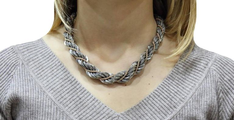 Diamond Choker  Gold and Silver Necklace In Good Condition For Sale In Marcianise, Caserta