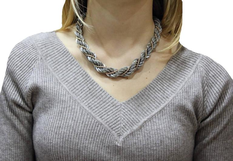 Women's  Diamond Choker  Gold and Silver Necklace For Sale