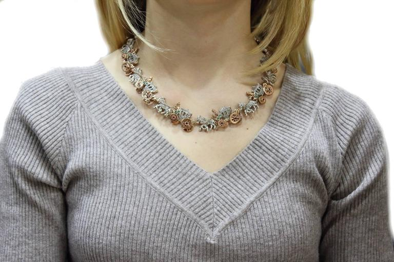 Retro  KT 2,57 Emerald Ruby,and KT 3,55 Diamond Rose Gold Choker Necklace For Sale